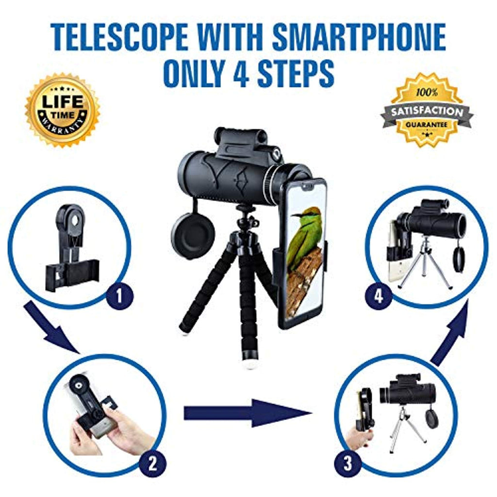 Monocular Telescope with Laser Pointer and Flashlight