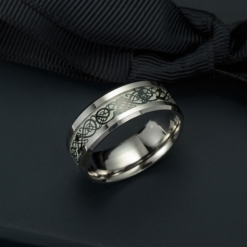 Unisex Cool Style Luminous Titanium Steel Ring