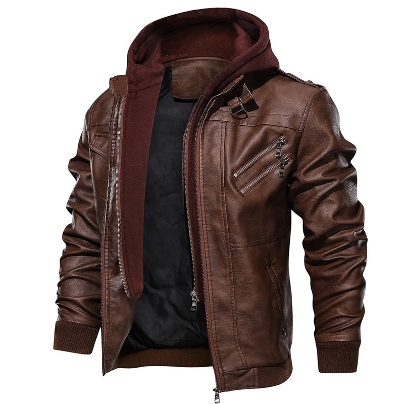 2019 Mens Leather Jacket with Removable Hood