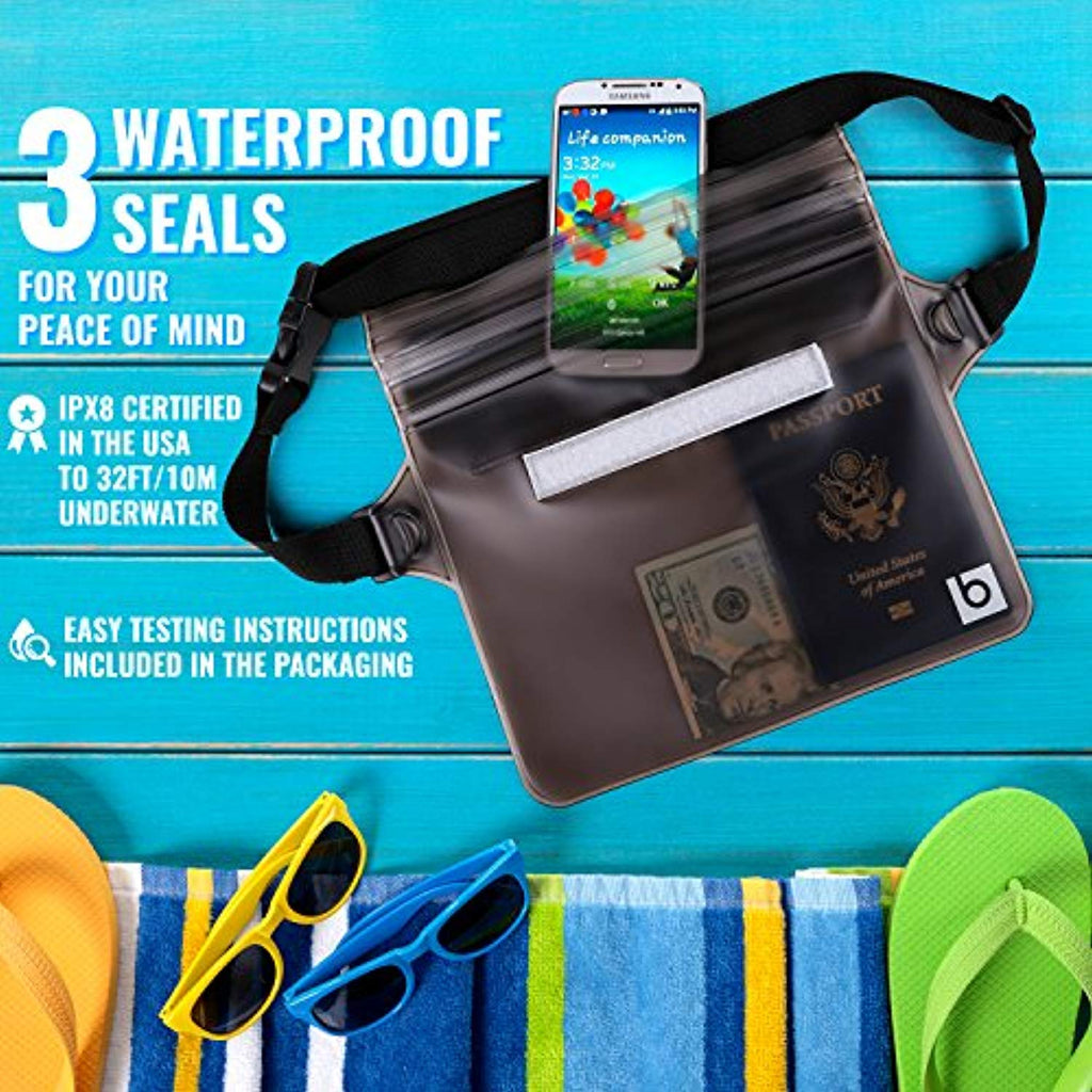 Waterproof Pouch with Waist Strap (2 Pack)