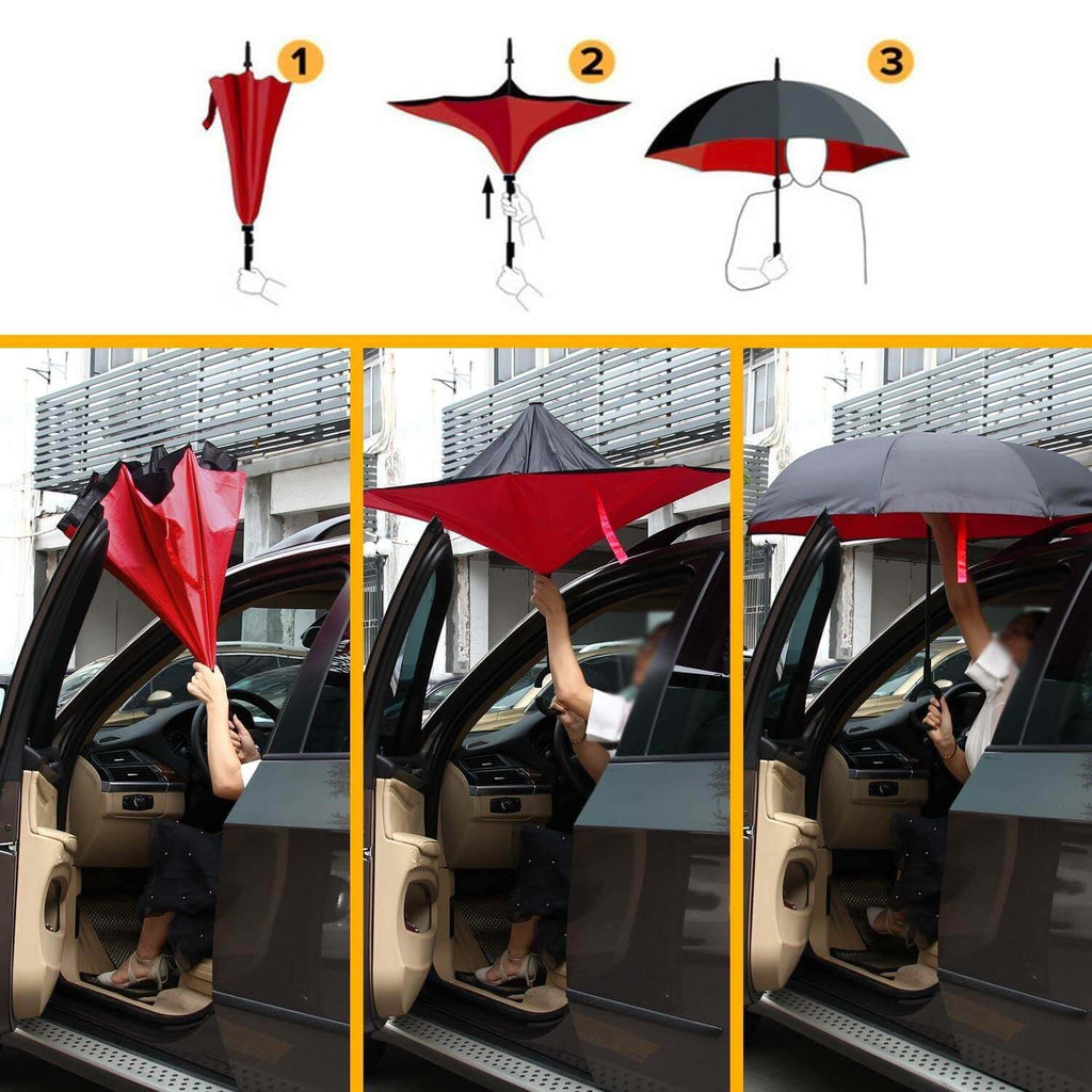 Inverted Double Layer Windproof UV Protection Reverse folding Umbrellas