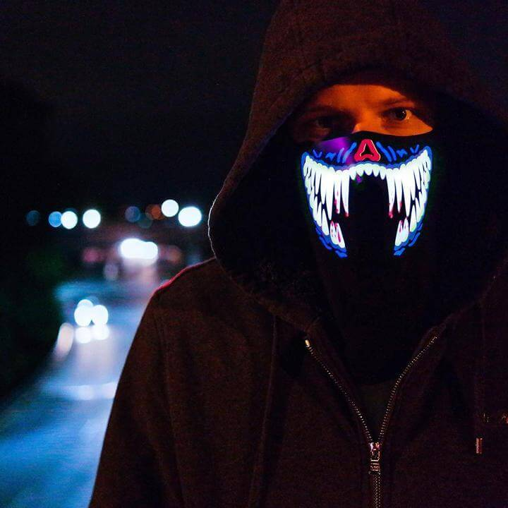 LED Volume Sensing Rave Mask