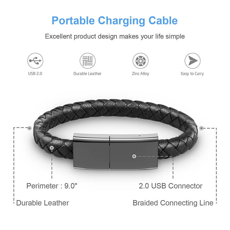 Leather Bracelet USB Charging Cable