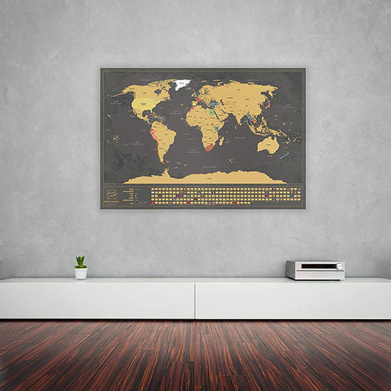 Scratch The World Map Trendowner - Framed scratch world map