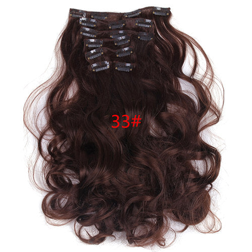Seven-Piece Set of Clip-On Hair Extensions in a Range of Sizes and Colours
