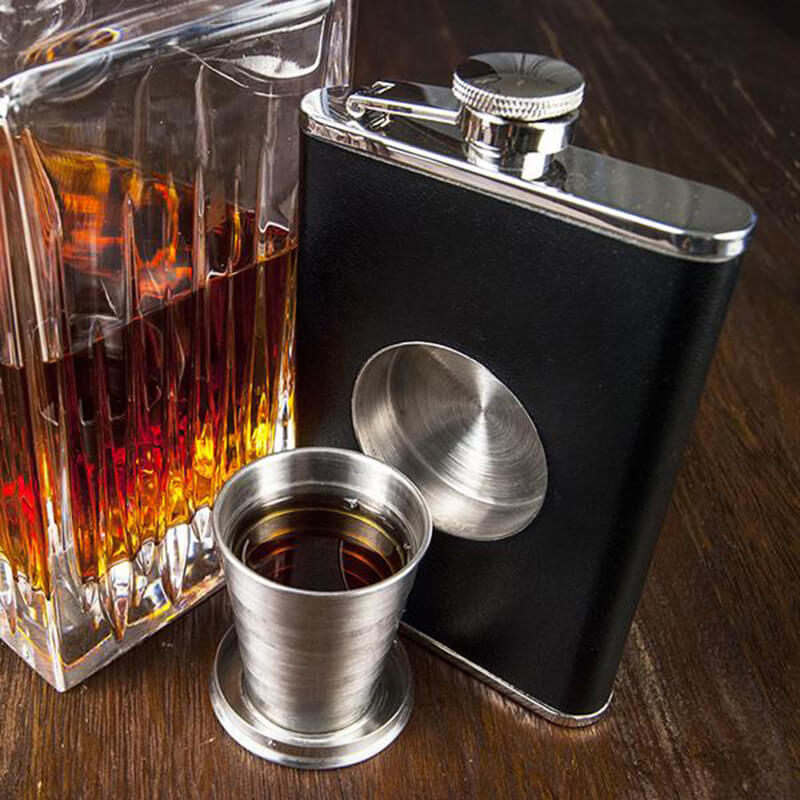 Stainless Steel Flask Featuring a Hidden Shot Glass