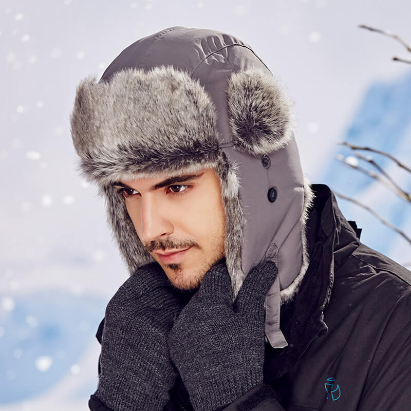 Super Warm Windproof Mens Rabbit Fur Hat