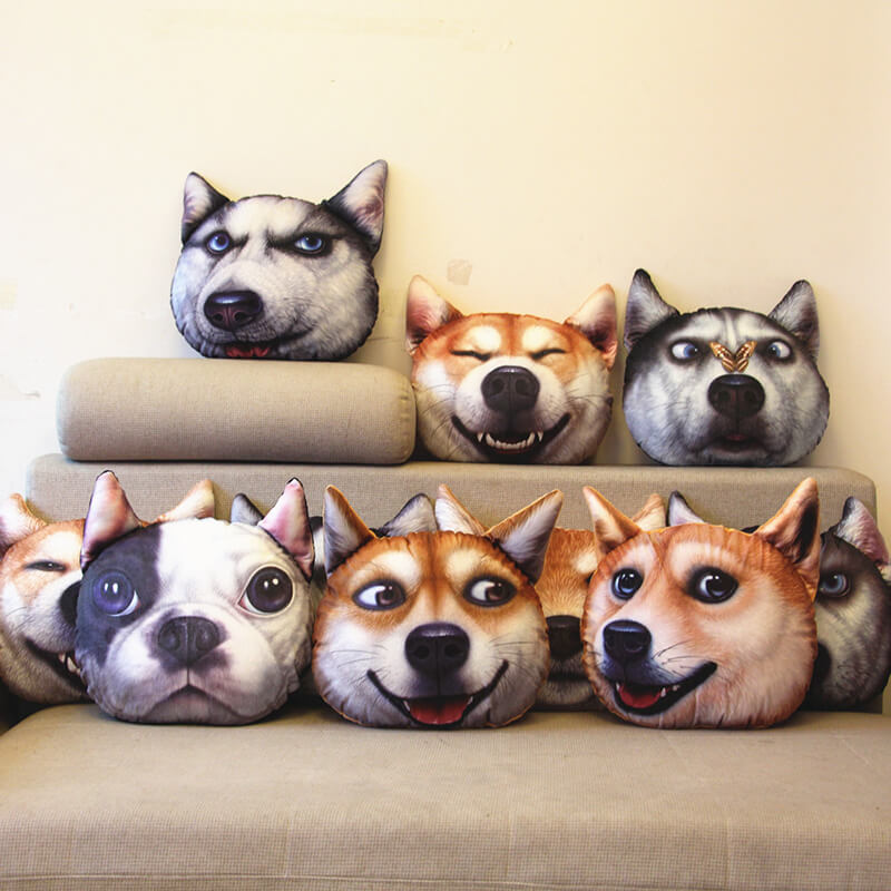 Funny Dog Head Pillow
