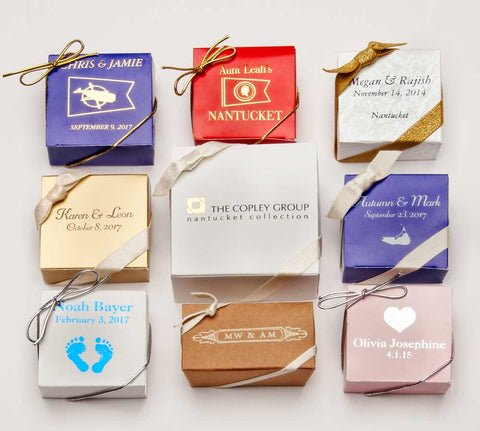 Milti colored gift boxes of fudge and cranberries.