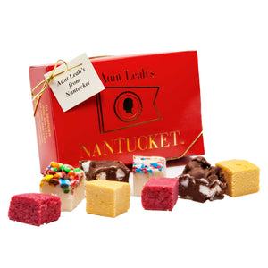 Assortment of fudge with a red box