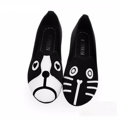 Dog Cat Loafers Women Flat Shoes