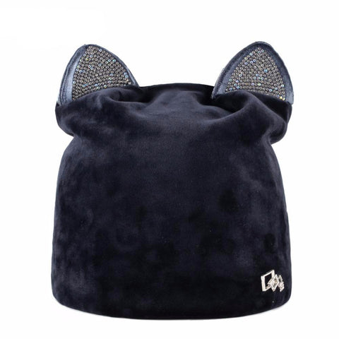 Cat Hat Women Casual Velvet Caps