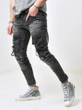 Mens Skinny Cargo Jeans With Stripe