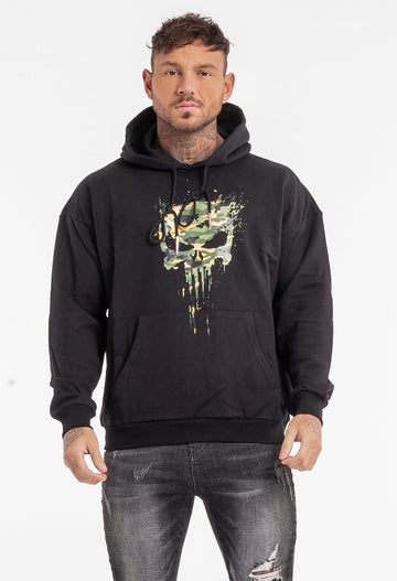 Black Printed Hooded Sweatshirt Men