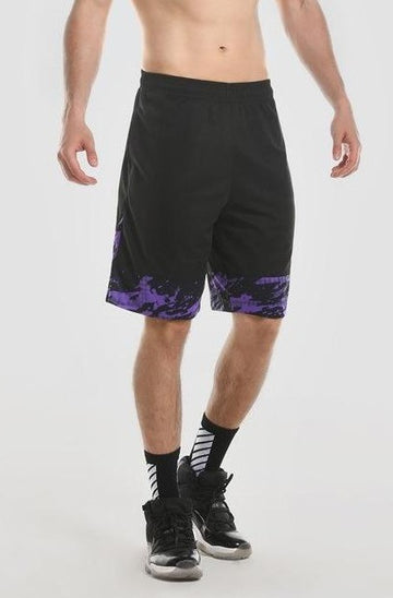 Black Woven Shorts with Purple Trim
