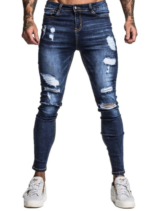 MENS BLUE RIPPED SKINNY JEANS