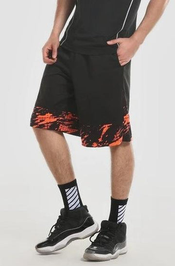 Black Woven Shorts with Red Trim