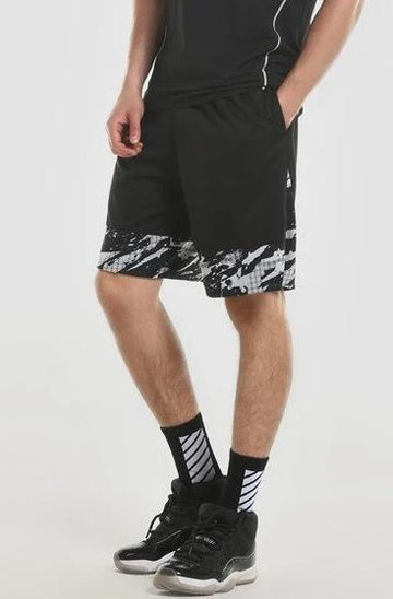 Black Woven Shorts with White Trim