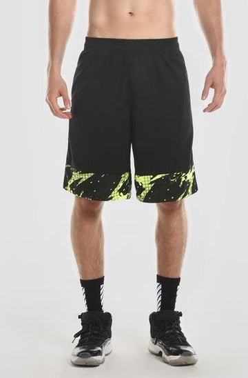 Black Woven Shorts with Green Trim