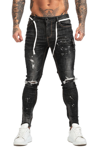 MENS GT SERIES BLACK RIPPED SKINNY JEANS