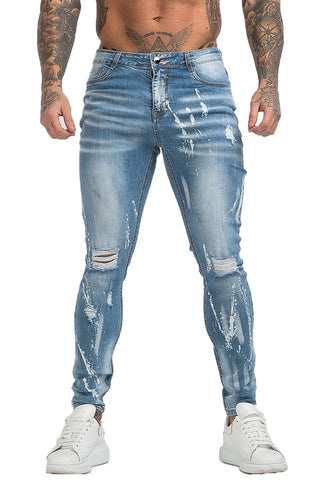 MENS GT SERIES ICE BLUE RIPPED SKINNY JEANS