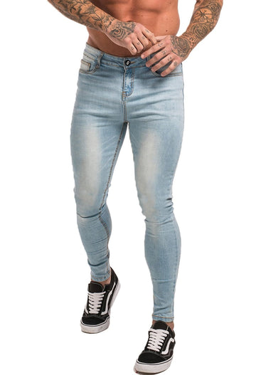GINGTTO Mens Ice Blue Spray On Skinny Jeans Fashion Stretch Jeans For Men High Waisted zm32 - Ice Blue / 28 - Skinny Jeans