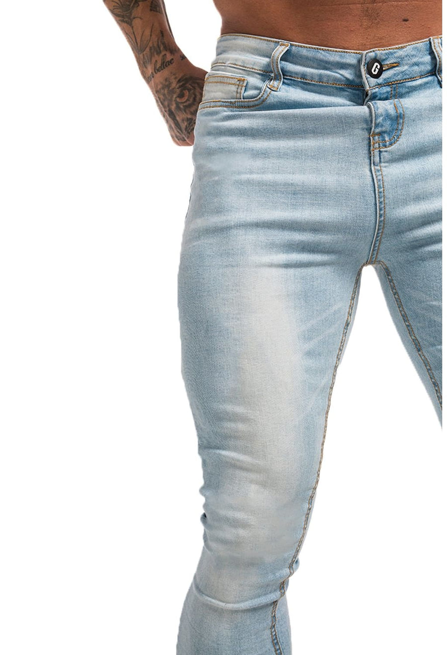 GINGTTO Mens Ice Blue Spray On Skinny Jeans Fashion Stretch Jeans For Men High Waisted zm32 - Skinny Jeans