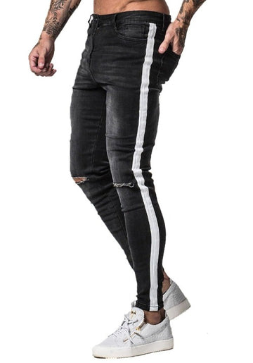 MENS BLACK JEANS WITH HOLES - GINGTTO