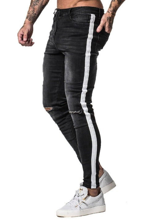 GINGTTO Mens Knee Ripped Super Skinny Jeans With Side Stripe zm42 - Black / 36 - Skinny Jeans