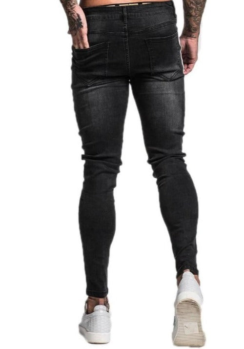GINGTTO Mens Knee Ripped Super Skinny Jeans With Side Stripe zm42 - Skinny Jeans