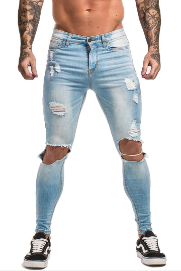 MEN LIGHT BLUE KNEE RIPPED JEAN