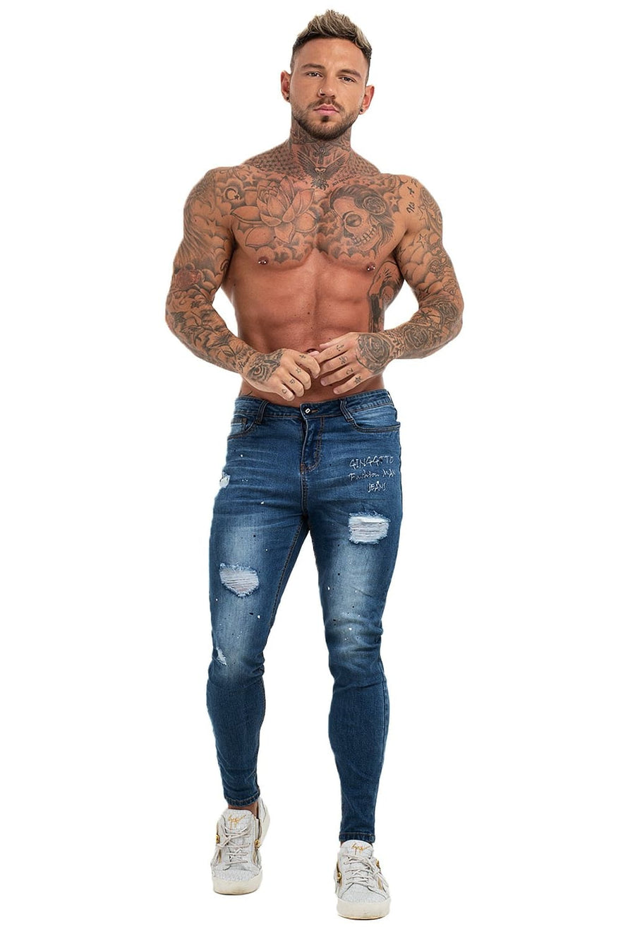 GINGTTO Mens Skinny Jeans Blue Ripped Designer Jeans For Men 2019 zm72 - Blue / 32 - Skinny Jeans