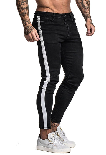 GINGTTO Mens Skinny Jeans With White Side Stripe Best Selling Slim Fit For Men zm38 - Black / 28 - Skinny Jeans