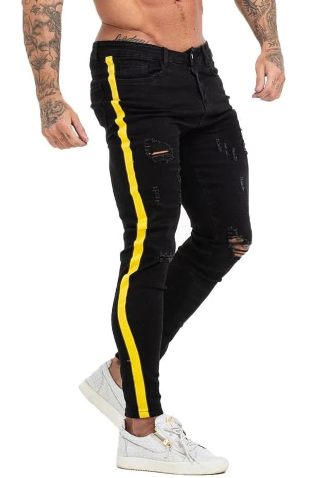 GINGTTO Mens Skinny Ripped Black Jeans Fashion Designer Tapered Jeans Men zm68 - Black / 30 - Skinny Jeans
