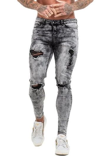 GINGTTO Mens Vintage Jeans Pants Casual Skinny Ripped Jeans Men Grey Stone Wash zm70 - Grey / 30 - Skinny Jeans