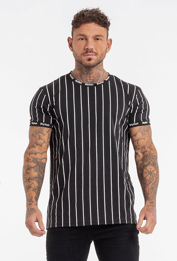Men's Black Striped T-shirt