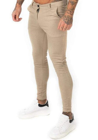 Khaki Plaid Skinny Chinos - GINGTTO