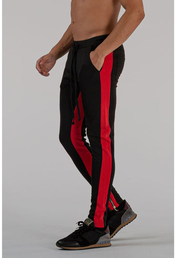 MENS BLACK BREATHABLE JOGGER WITH RED STRIPE - jogger