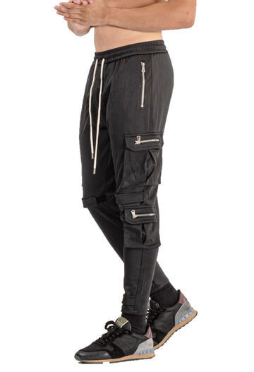 MENS BLACK BREATHABLE JOGGER WITH ZIPPER - GINGTTO