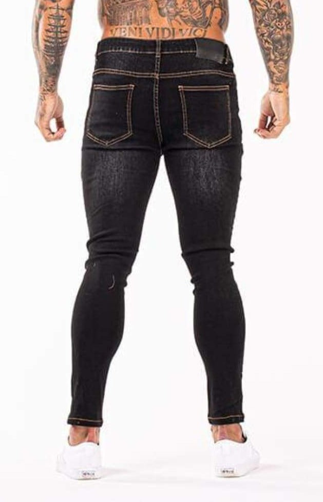 MENS BLACK STYLE RIPPED SKINNY JEANS - GINGTTO