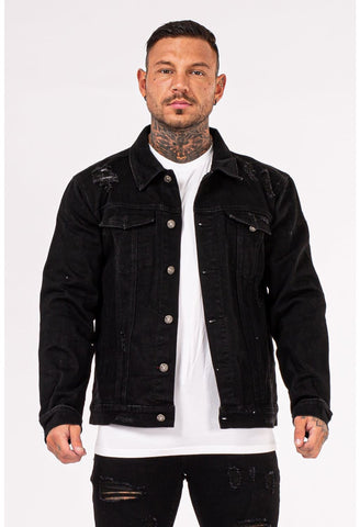 Mens Black Stylish Denim Jacket - GINGTTO