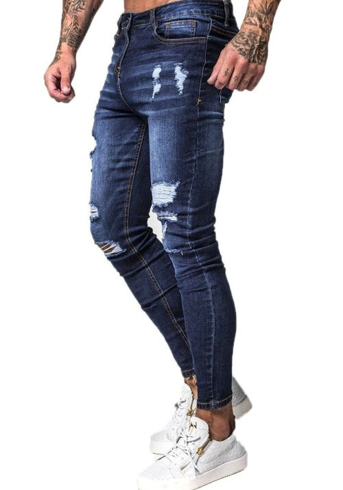 MENS BLUE RIPPED SKINNY JEANS - GINGTTO