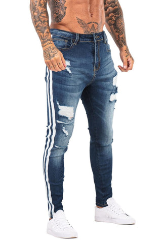 MENS BLUE STRIPE RIPPED SKINNY JEANS - GINGTTO