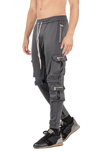 MENS DARK GREY BREATHABLE JOGGER WITH ZIPPER - GINGTTO