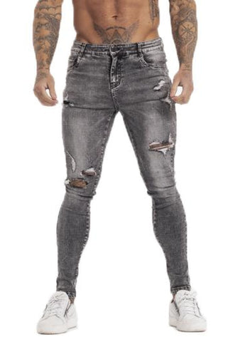 MENS DARK GREY RIPPED JEANS - GINGTTO