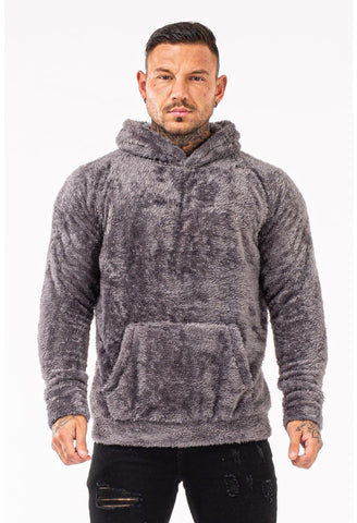 Mens Grey Fuzzy Hoodie - GINGTTO