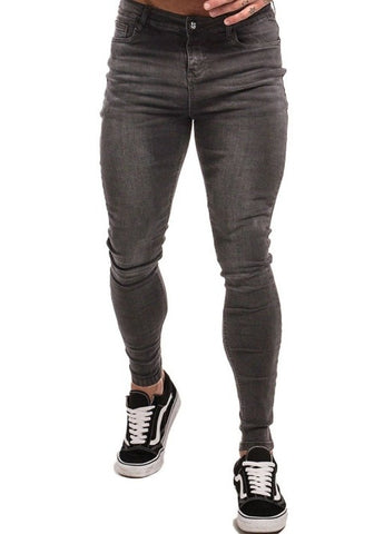 MENS GREY SKINNY JEANS STRETCH - GINGTTO