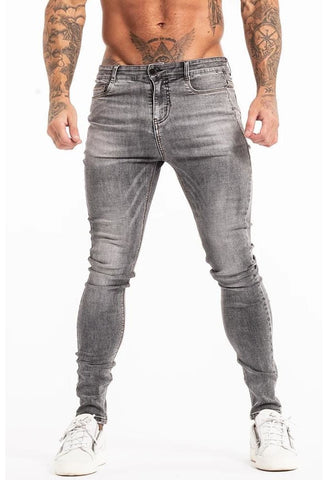 MENS GREY SKINNY STRETCH JEANS - GINGTTO