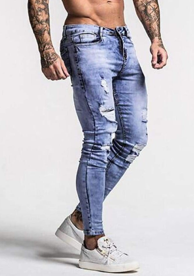 Mens GT Ice Blue Ripped Skinny Jeans - Pants