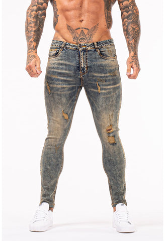 MENS GT SERIES GREY RIPPED SKINNY JEANS - GINGTTO